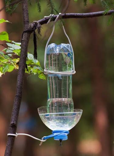Поилка для птиц из двух бутылок